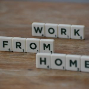 Work from home in Scrabble tiles